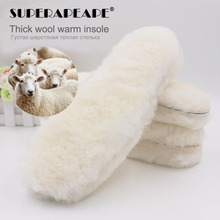 Natural Sheepskin Insoles Cashmere Thermal Shearling Snow Boots Shoe Pad Real Fur Wool Adult Winter Shoes Warm heated insole