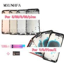 10 pz/lotto Cassa del Portello Della Copertura Posteriore Dellalloggiamento Della Batteria per il iPhone 8 7 6 6S Plus 5 5S X XS Max XR 11 In Metallo Medio Telaio