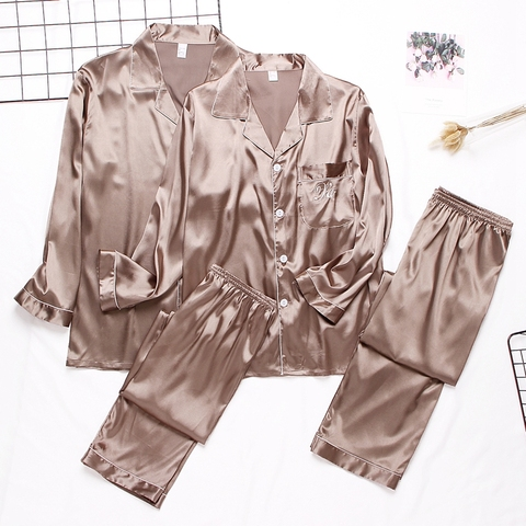 Luxury Pajama suit Satin Silk Pajamas Sets Couple Sleepwear Family Pijama Lover Night Suit Men & Women Casual Home Clothing Karachi