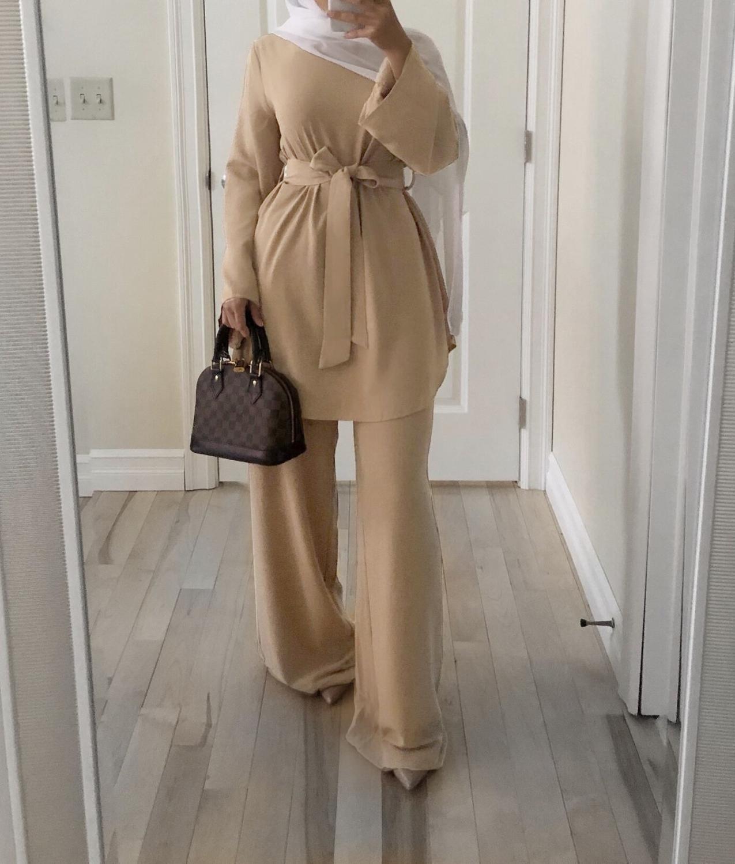 2 Pieces Dubai Abaya Turkish Hijab Muslim Dress Women Kaftan Islamic Clothing Grote Maten Dames Kleding Ensemble Femme Musulmane
