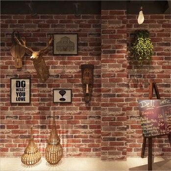 LUCKYYJ  Retro nostalgic 3D imitation brick pattern wallpaper cafe bar restaurant culture stone red