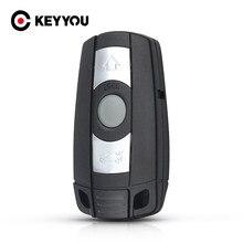 KEYYOU 3 przycisk klucz samochodowy dla BMW 1 3 5 6 seria E90 E91 E92 E60 obudowa pilota bez kluczyka przypadku inteligentne ostrze klucza Fob