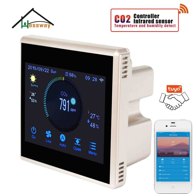 HESSWAY TUYA Nather NDIR CO2 גלאי wifi רגולטור אוויר באיכות עבור בתי חולים בתי ספר בית