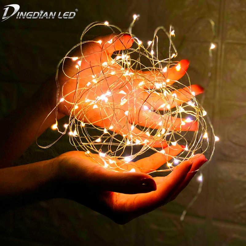 LED سلسلة ضوء الأسلاك النحاسية Fariy ضوء ، USB/بطارية تعمل جارلاند الديكور 2 متر 5 متر 10 متر الزفاف عيد الميلاد مصابيح حفلات خفيفة