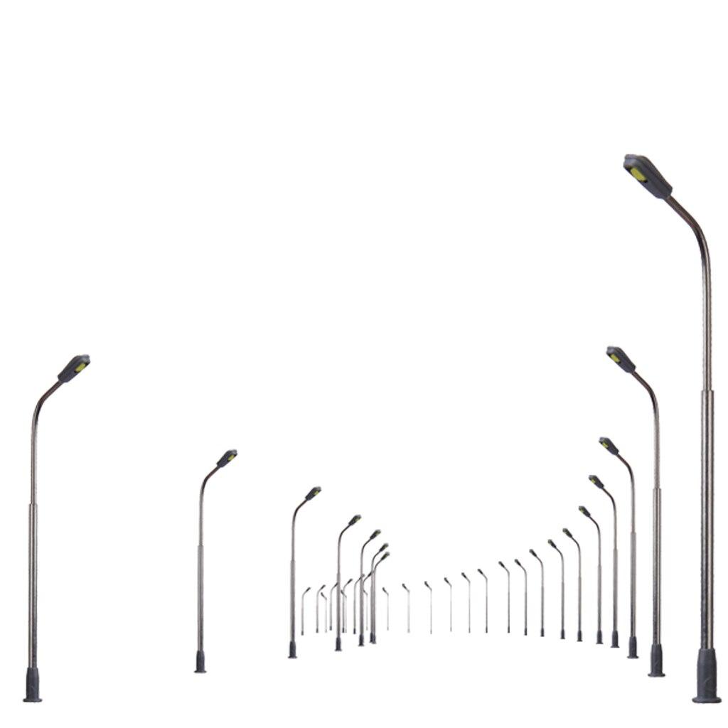 10 pçs/set modelo de comboio ferroviário, lâmpada de rua, luzes de escala 1/200 mini tamanho para acessórios diorama