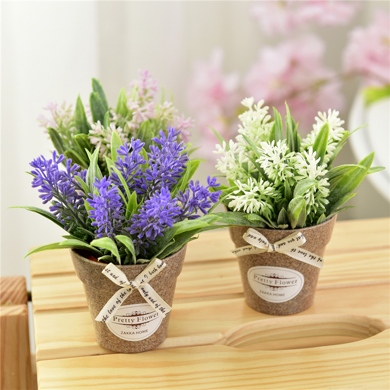 Artificial Plant Artificial Flower Fake Flower Small Mini Potted Bonsai Green Plant Decorative Flower Home Decor 1 Set And Vase