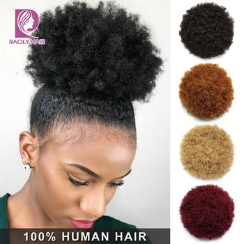 Racily Hair Afro Puff sznurkiem kucyk ludzki włos Ombre perwersyjne kręcone przypinany kucyk Ins brazylijski włosy Chignon wysoki Puff Bun tanie i dobre opinie CN (pochodzenie) Włosy remy 60 g sztuka Karbowane Na klipsy Realny kolor Brazylijskie włosy