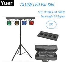 цена на 4Pcs 7X10W RGBW 4IN1 LED Par Kits DMX Controller Flat Par Light With Light Stand And Foot Controller Dj Stage Disco Light Music