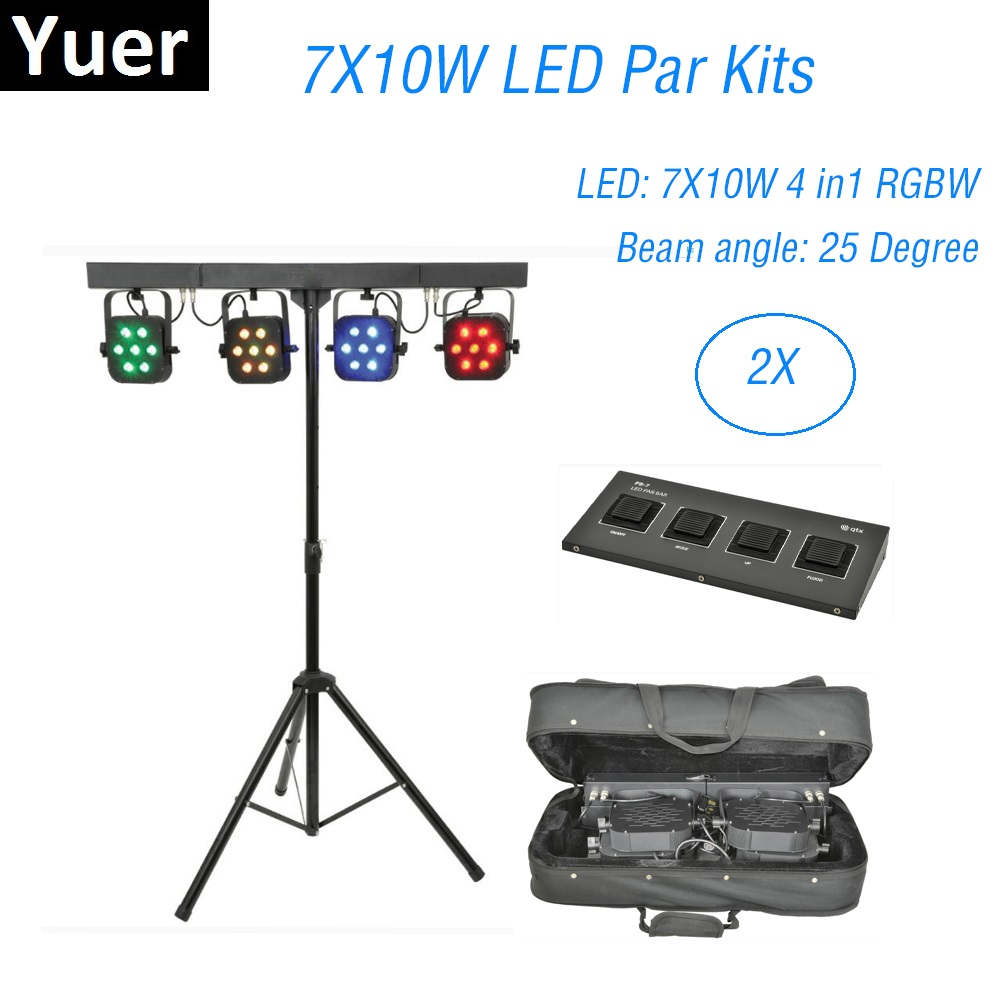 4Pcs 7X10W RGBW 4IN1 LED Par Kits DMX Controller Flat Par Light With Light Stand And Foot Controller Dj Stage Disco Light Music