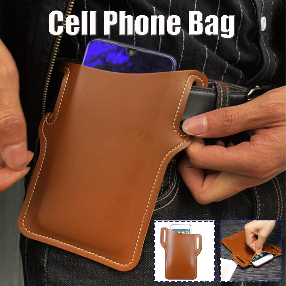 Fashion Leather Phone Case For IPhone 8 8P X XS Waist Belt Bag Small Purse Phone Key Bag Vintage Phone Pocket Cases
