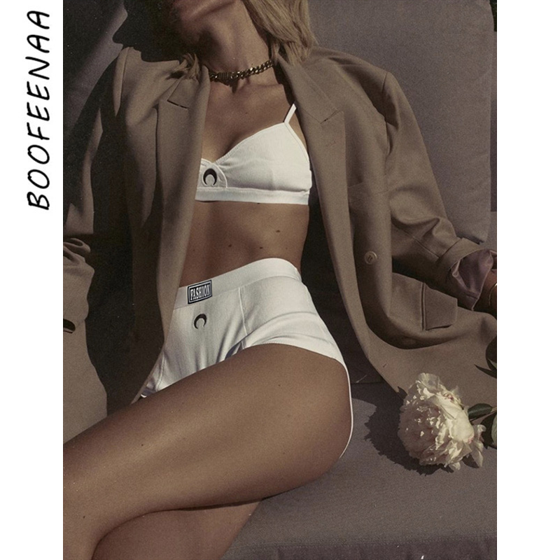 BOOFEENAA Hot Moon Embroidery White Ribbed Bra and Panty Sexy Two Piece Outfits for Women Summer Lingerie Sets C94-BI17 1