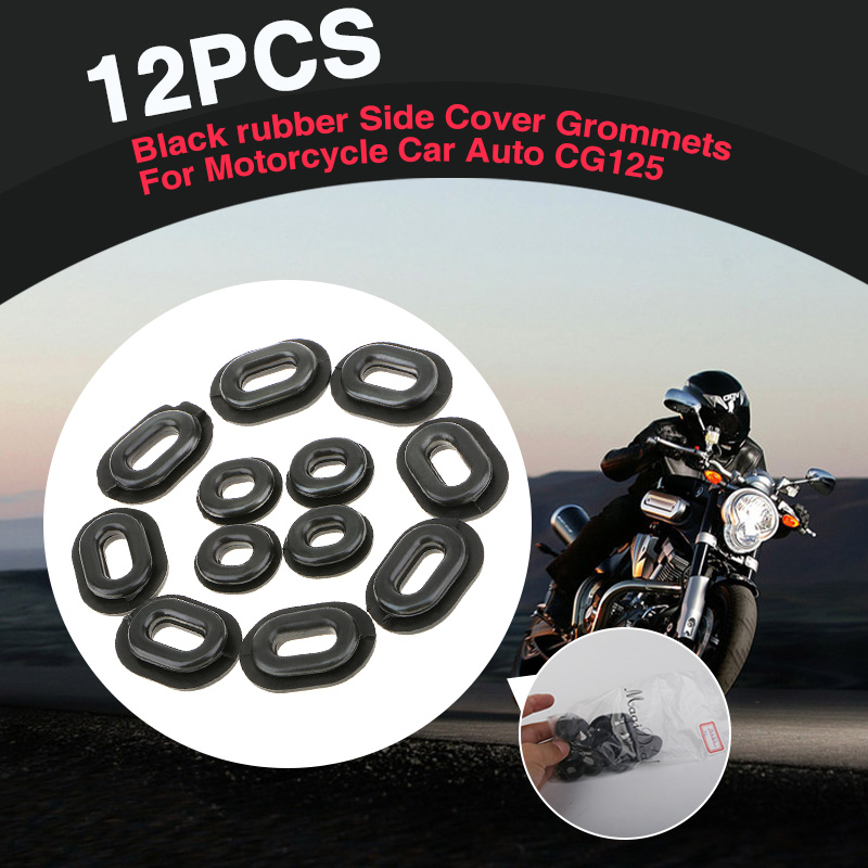 12 Pcs Motorcycle Rubber Grommets Bolt Pressure Relief Cushion Kit For Yamaha Honda CB CL XL Suzuki Fairings Moto Accessories