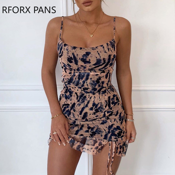 Women O-neck Spaghetti Strap Animal Print Ruched Cami Dress Bodycon Sexy Party Dress women s sexy bodycon mini dress cute cherry print spaghetti strap sleeveless lace patchwork cami dress