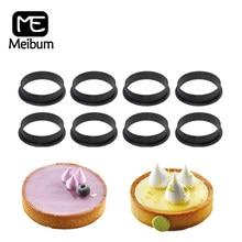 Meibum-molde para tartaleta de huevo perforado de plástico, molde para postres, queso, fruta, anillo, molde para hornear, cocina, 2/4/6/8 piezas
