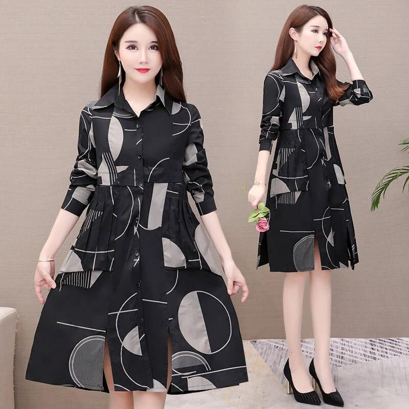 Shirt Windbreaker Female Long Korean 2019 New Slim Casual Large Size Trench Coat Thin Section Spring Autumn Coat Lady Print f184 25