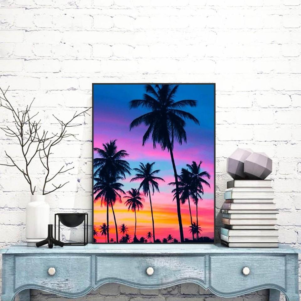 5D DIY Diamond Painting Landscape Full Square Drill Diamond Embroidery Seaside Cross Stitch Sunset Decoration Home