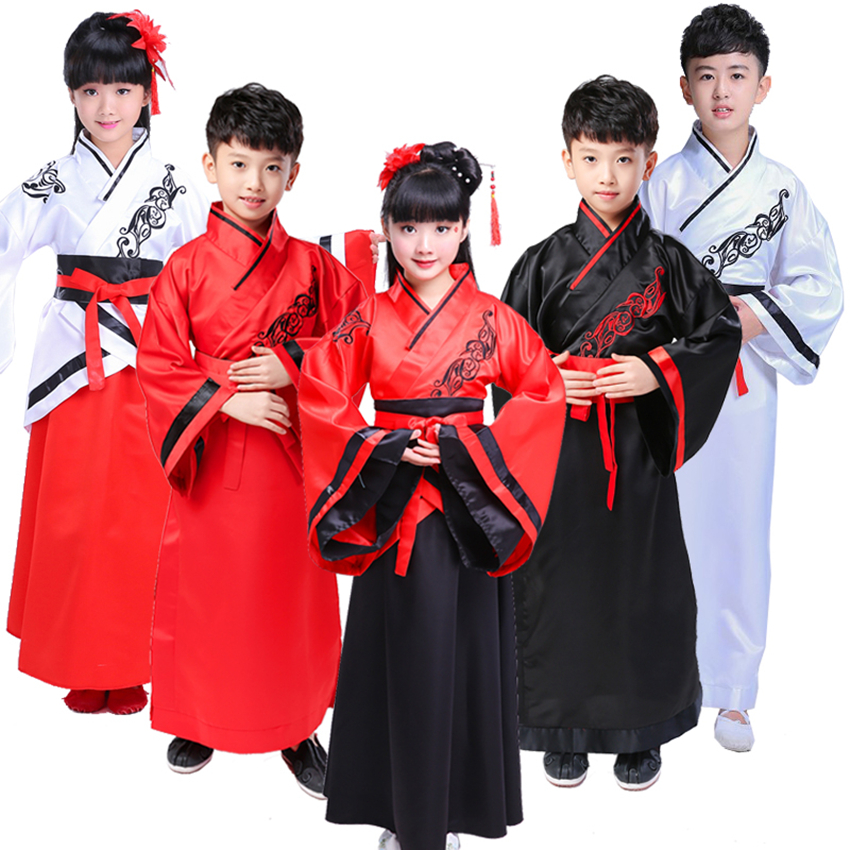 Children Chinese Traditional Folk Dance Costumes Girls Boys Performance Ancient Embroidery Hanfu Kids New Year Clothing