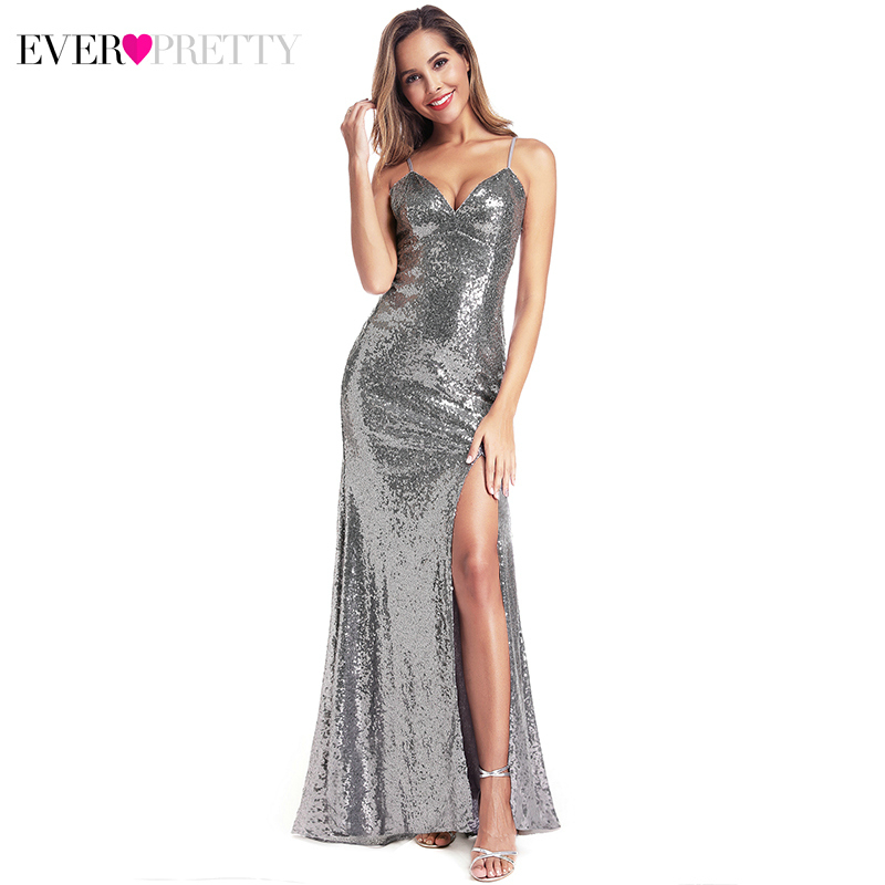 Silver Mermaid   Prom     Dresses   Ever Pretty EP00934GY Sequined V-Neck Side Split Sexy Party Gowns For Women Vestido Largo Fiesta