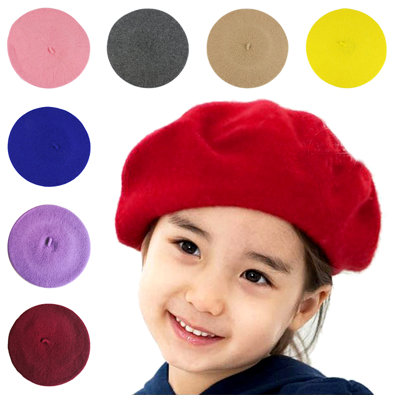 Moda bebê boina chapéu para meninas de lã do vintage crianças gorros boné crianças pintor chapéus da criança doces cor acessórios para o cabelo