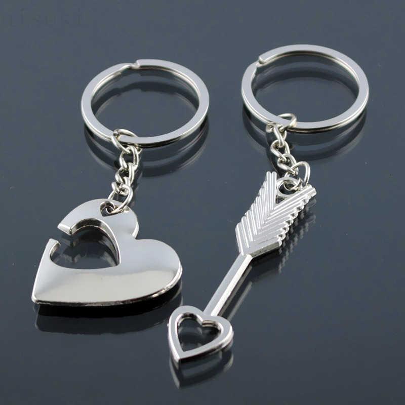 Nouvelle offre spéciale à la mode 1 paire porte-clés en argent alliage flèche arc amour porte-clés porte-clés amoureux anneau Couples porte-clés pour cadeau