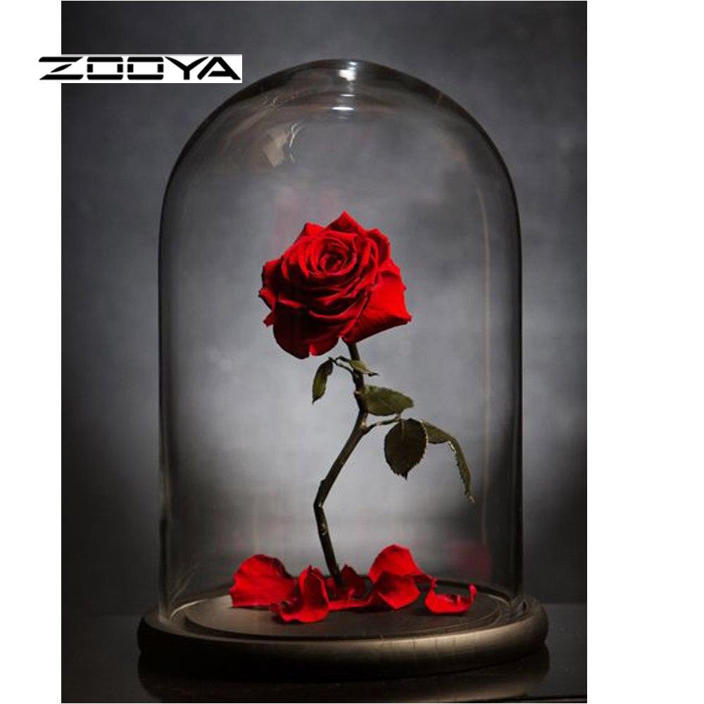 Алмазная картина ZOOYA, полная дрель, роза, 5D, сделай сам, алмазная вышивка, распродажа, Набор алмазной мозаики, картина, стразы, рукоделие, RF1888 - Цвет: RF1888-1