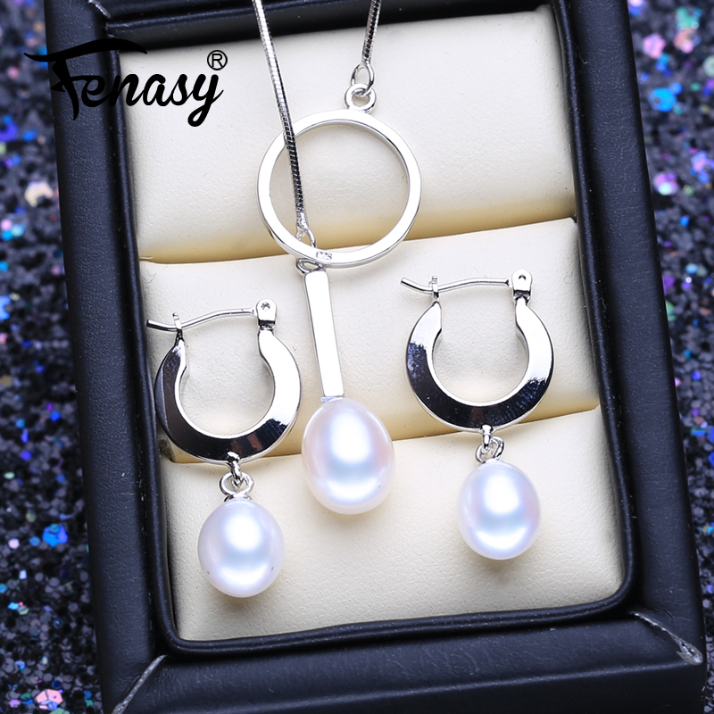FENASY 925 Sterling Silver Jewelry Sets Natural Pearl Drop Earrings Custom Necklace Luxury Pendant Chain Necklaces For Women