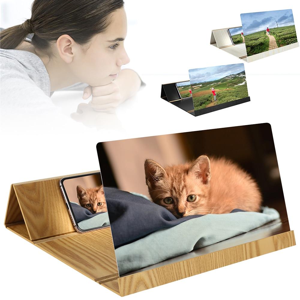 12 Inch Desktop Folding Wood Bracket Mobile Phone Screen Magnifier 3D HD Video Amplifier Holder Mobile Phone Stand