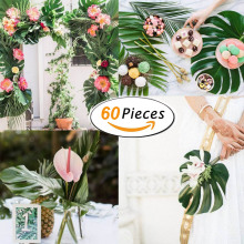60pcs Artificial Monstera Plants Placemat Home Garden Decoration Party Accessories Decorative Tropical Palm Tree Leaves Flowers