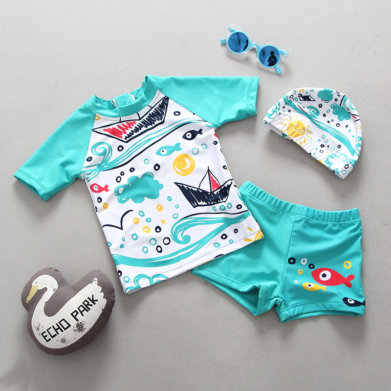 Boys Swimwear Toddler Children 39 s Swimsuit UPF50 Dinosaur Shark Print Long Sleeves Kids Bathing Suit Baby Boy Swimming Suits in Body Suits from Sports amp Entertainment