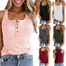 Kuelawear U-neck Vest Womens Solid Color Sleeveless Vest T-shirt Summer Ladies Tank Top Casual Button Cotton Pullover Tops Shirt