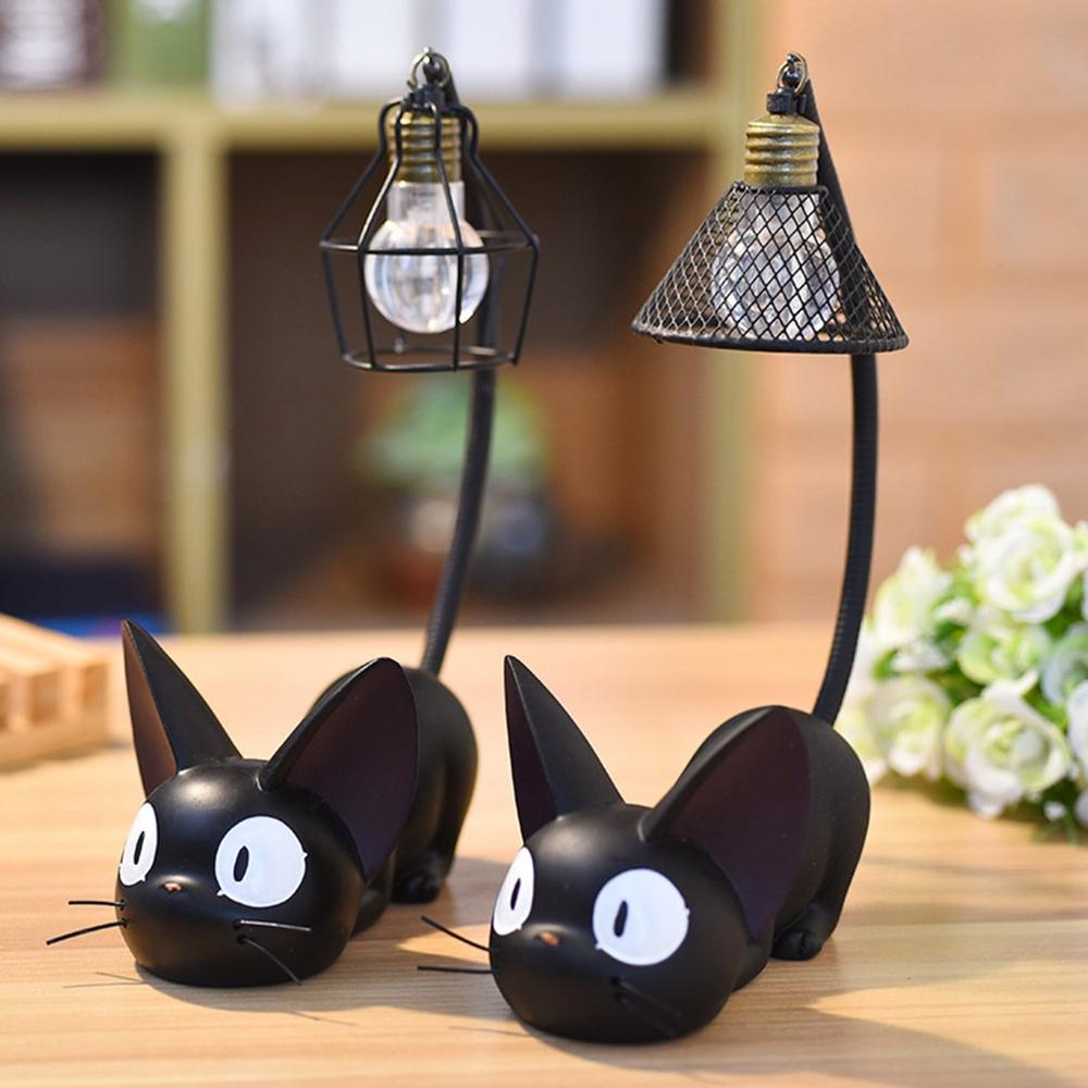 LED Night Light JiJi Small Cats Toy Night Lamp For Child Led Desk Light Home Decoration Resin Kids Cartoon Room Lamp