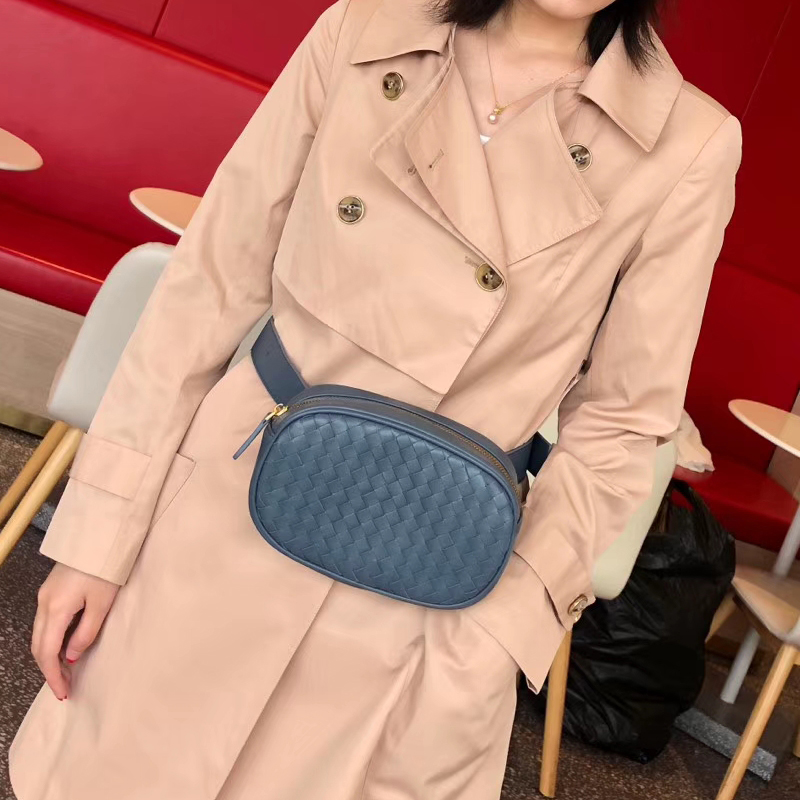 Luxury Brand Women Waist Bag Shoulder Bag 100% Sheepskin Leather Hand-Woven Fashion Exquisite Bag Storage Casual-Style 2020 New