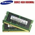 Память Samsung для ноутбука, 4 Гб, фреза DDR2, 800 МГц, оперативная память для ноутбука, 4G, 800, 6400S, 4G, 200 контактов, фреза