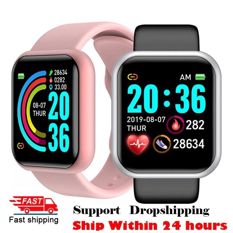 2021 Topsell Y68 Smart Watch Men Women Heart Rate Blood Pressure Monitor Waterproof Sport Smartwatch for Andriod IOS Smart Clock