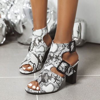 Snake Print High Heels Sandals Women 2020 Summer Sexy Cut Out Peep Toe Ankle Boots 3 Inch Square Heel Shoes Woman Size 41 42 43 ankle peep toe high heel newest real photo sandals hot sale side angle wing thin heel white black summer party cut out women