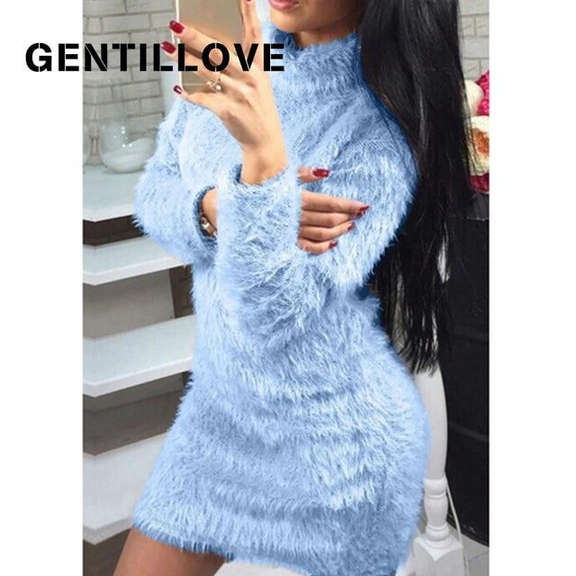 Gentillove Women Autumn Winter Long Sleeve Turtleneck Faux Fur Fluffy Bodycon Dress Sexy Party Club Night Sheath Mini Dress 2019 1