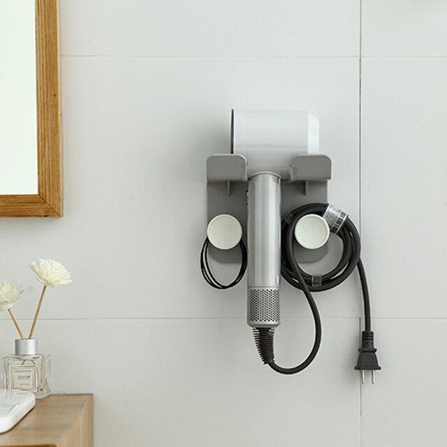 Support de sèche-cheveux de salle de bains support mural en ABS support de montage adhésif robuste support de rangement pour toilettes support de sèche-cheveux sans poinçon léger Pi