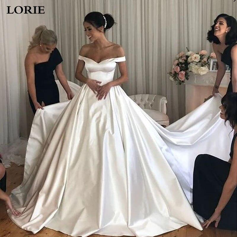 LORIE Princess Wedding Dress Ball Gowns Satin Off The Shoulder Bride Dresses Buttons Back Vestido De Noiva Boho Style