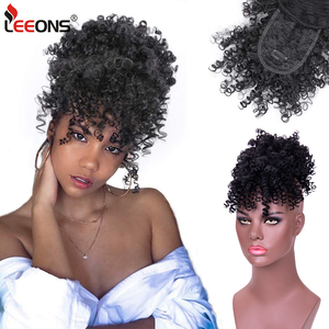 Leeons New High Puff Drawstring Afro Kinky Curly Synthetic Ponytail With Bangs Ponytail Hair Extension Short Afro Kinky Ponytail