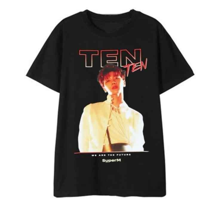 Kpop superM tên thành viên/hình ảnh in cổ tròn ngắn tay áo mùa hè phong cách Kpop Unisex Đen áo thun