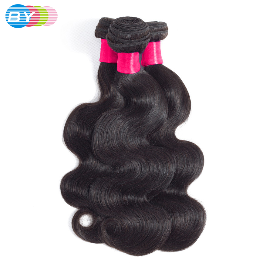 BY 3 Bundles Body Wave Human Hair Bundles 100% Remy Hair 8-26inch Natural Color Brazilian Hair Weave Extension Free Shipping