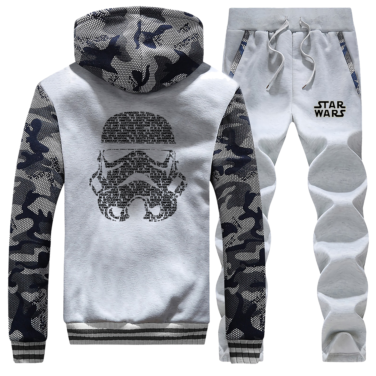 Star Wars Camouflage Hoodie Outerwear Men Winter Hoodies  Autumn Winter Warm Printed Pullover Tracksuit Jacket + Sweatpants Suit