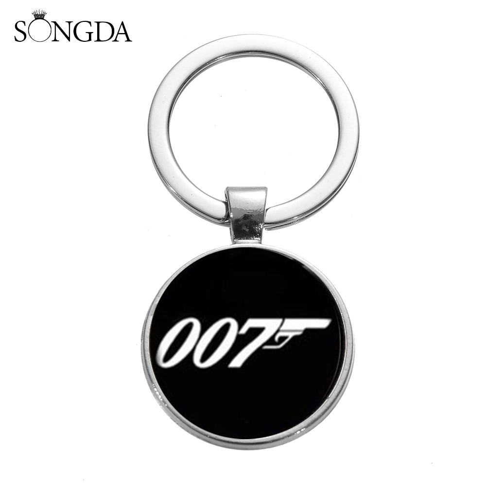 SONGDA New James Bond 007 Keychain Classic Action Movie Black White 007 Pattern Glass Dome Key Chain Key Ring Nice Gift For Fans