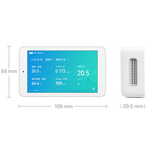 Image 2 - شاومي Mijia كاشف الهواء PM2.5 عالية الدقة 3.97 بوصة واجهة USB لمس الرطوبة الاستشعار رصد الهواء تستر ل Mihome