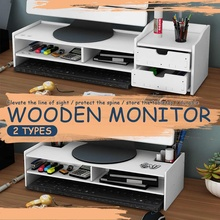 2-Tiers Computer Desktop Monitor Stand Shelf Wooden PVC Monitor Riser For Notebook TV Screen Riser With Storage Organizer Shelf