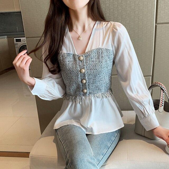 Mode Style coréen épissé en mousseline de soie à manches longues femmes Blouse solide chemise blanche bureau montre de sport col en v Feminina chemise 8110 50