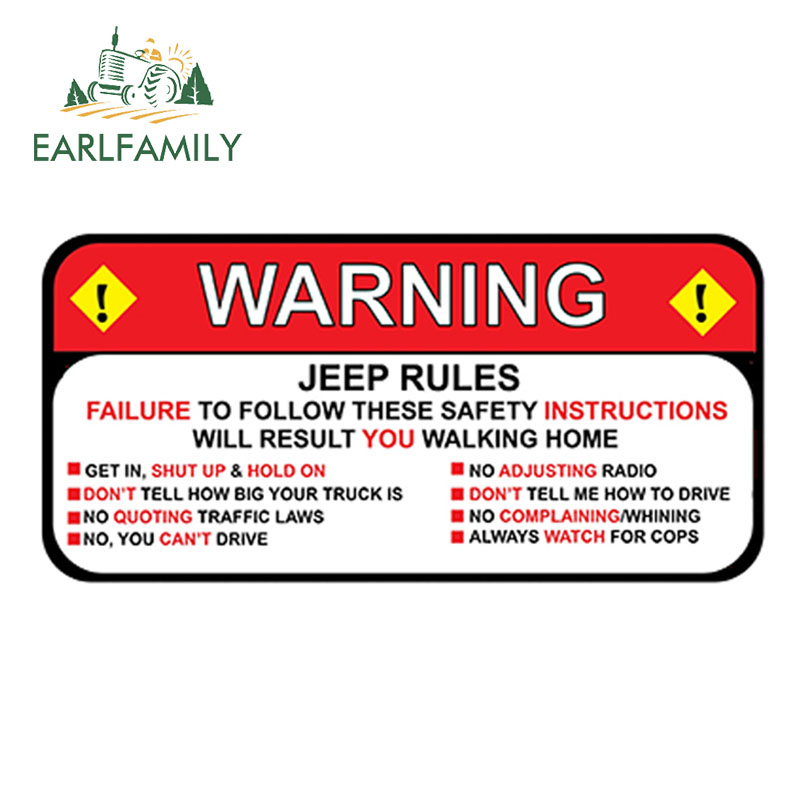 EARLFAMILY 13cm X 6.3cm For Jeep Rules Warning Decal Sticker Wrangler Sahara Funny Vinyl Waterproof Car Styling Car Stickers