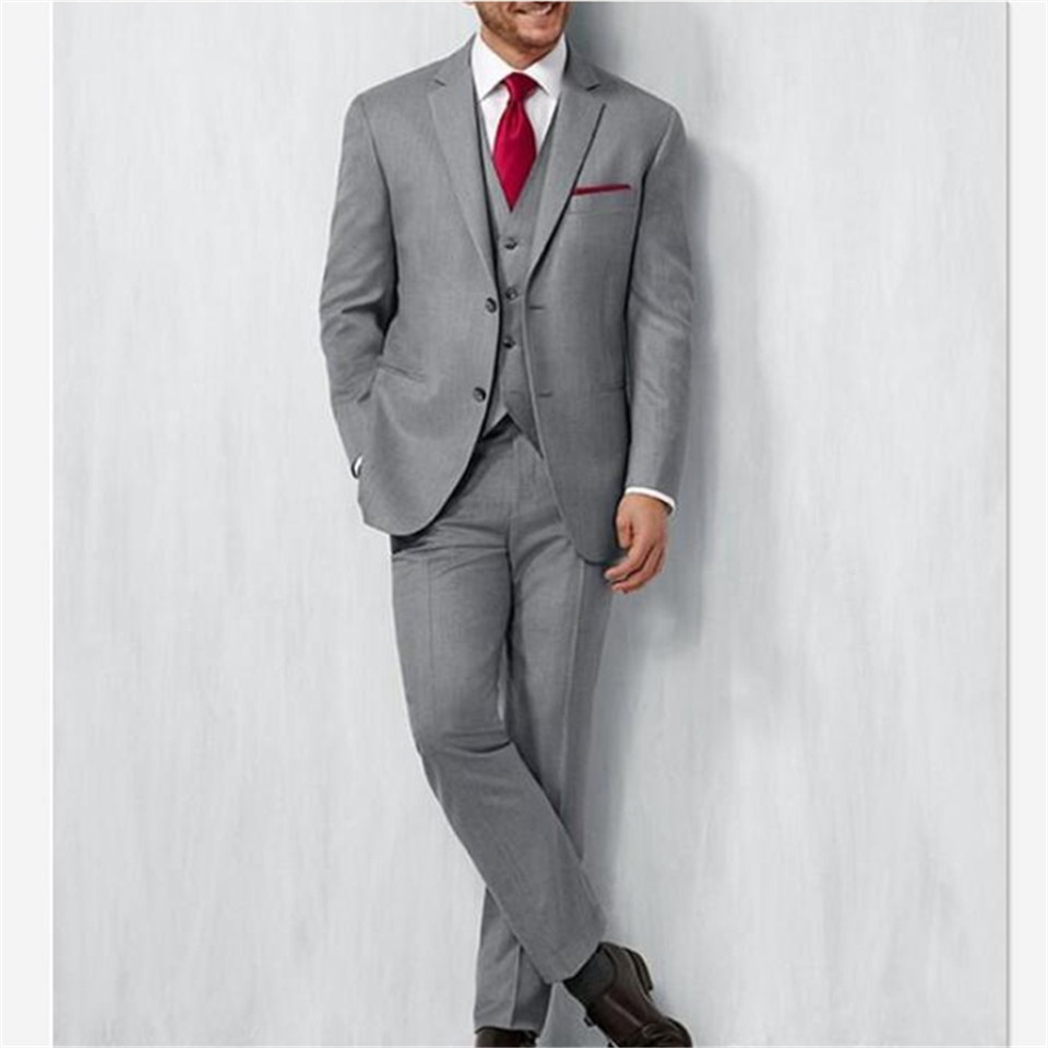 Gray Groom Tuxedos Groomsman Men Suit Italian Style  Prom Party  Bridegroom Men's Suits 3-piece (Jacket+Pants+Vest) Best Man Traje Hombre