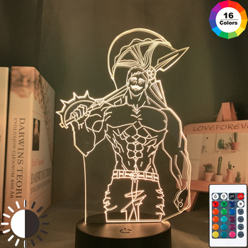 Acrylic Night Light Lamp Anime The Seven Deadly Sins Escanor Light for Bed Room Decor Nightlight Kids Table Lamp Escanor Gift недорого