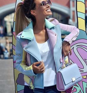 Chaqueta de mujer contraste de color primavera otoño multicolor costura diagonal cremallera abrigos femeninos epaulettes diseño solapa sobretodo